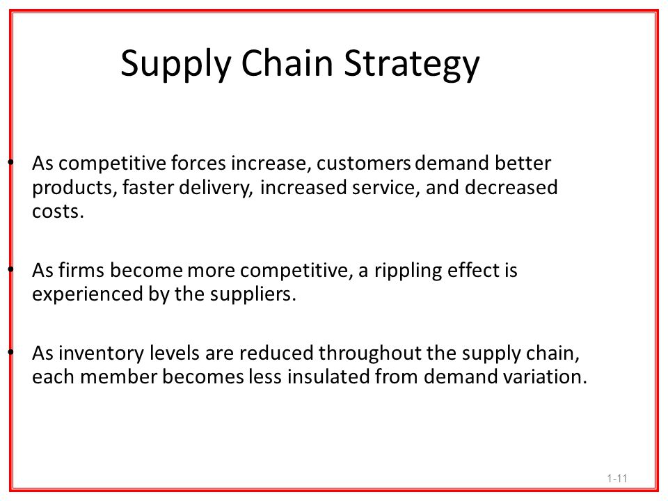 Supply Chain Strategy As competitive forces increase, customers demand better products, faster delivery, increased service, and decreased costs.