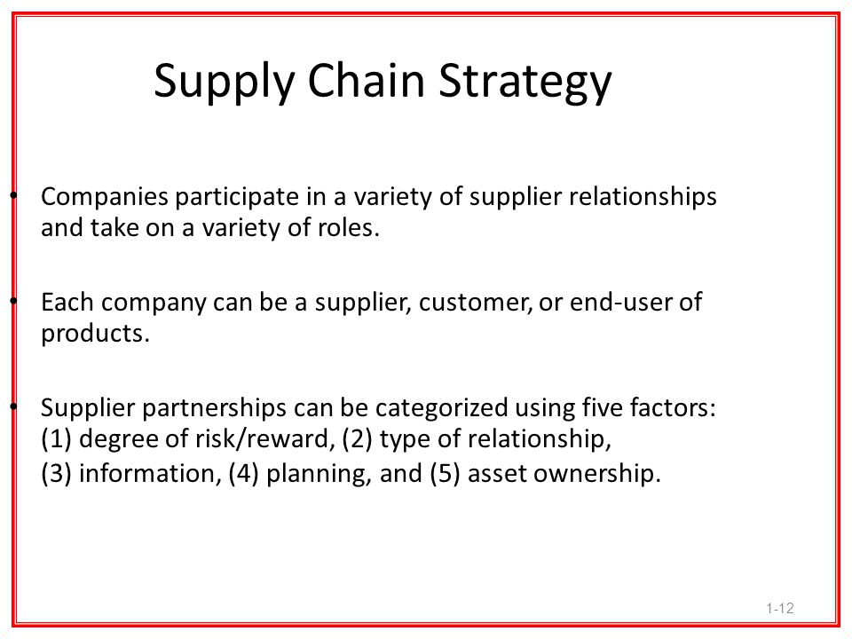 Supply Chain Strategy Companies participate in a variety of supplier relationships and take on a variety of roles.