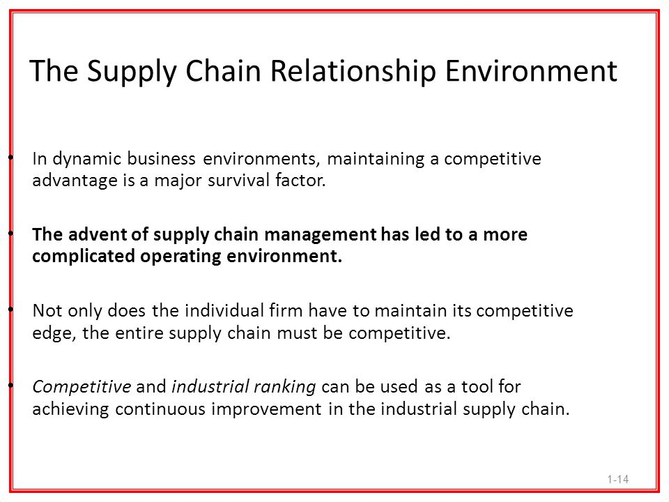 The Supply Chain Relationship Environment