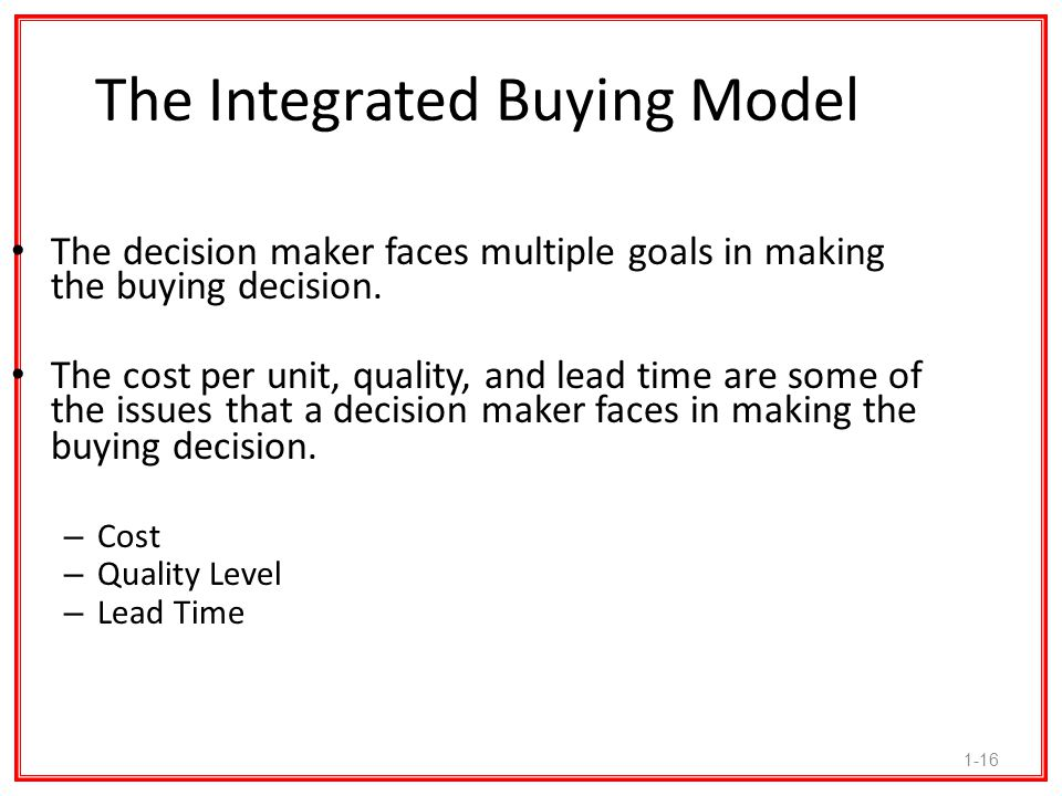 The Integrated Buying Model