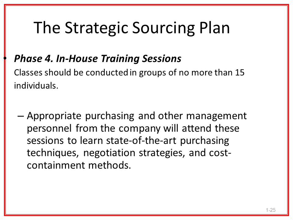 The Strategic Sourcing Plan
