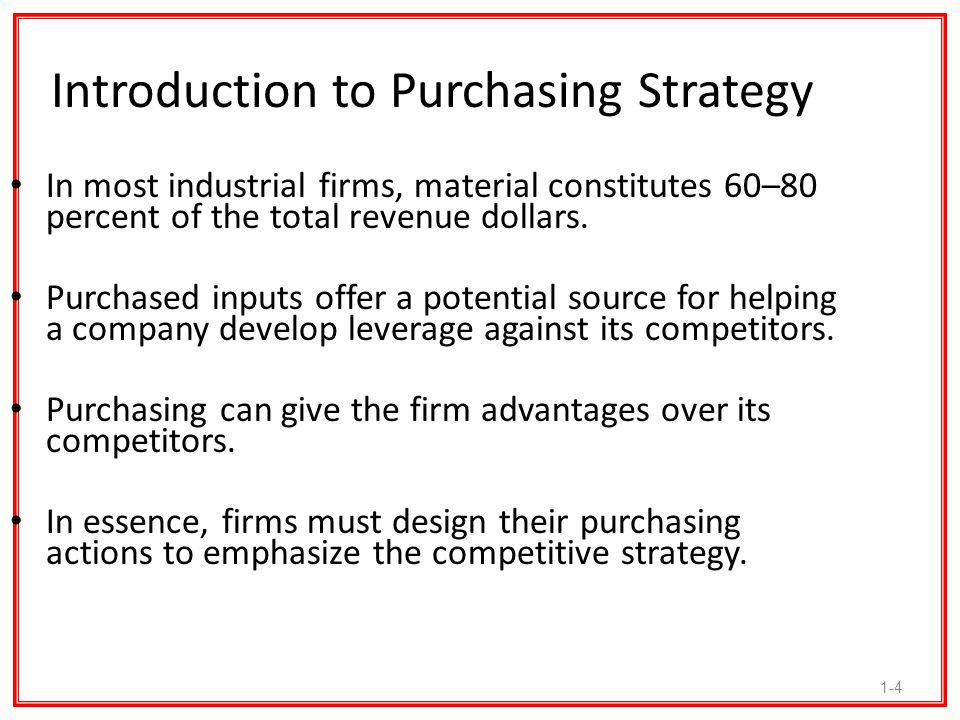Introduction to Purchasing Strategy