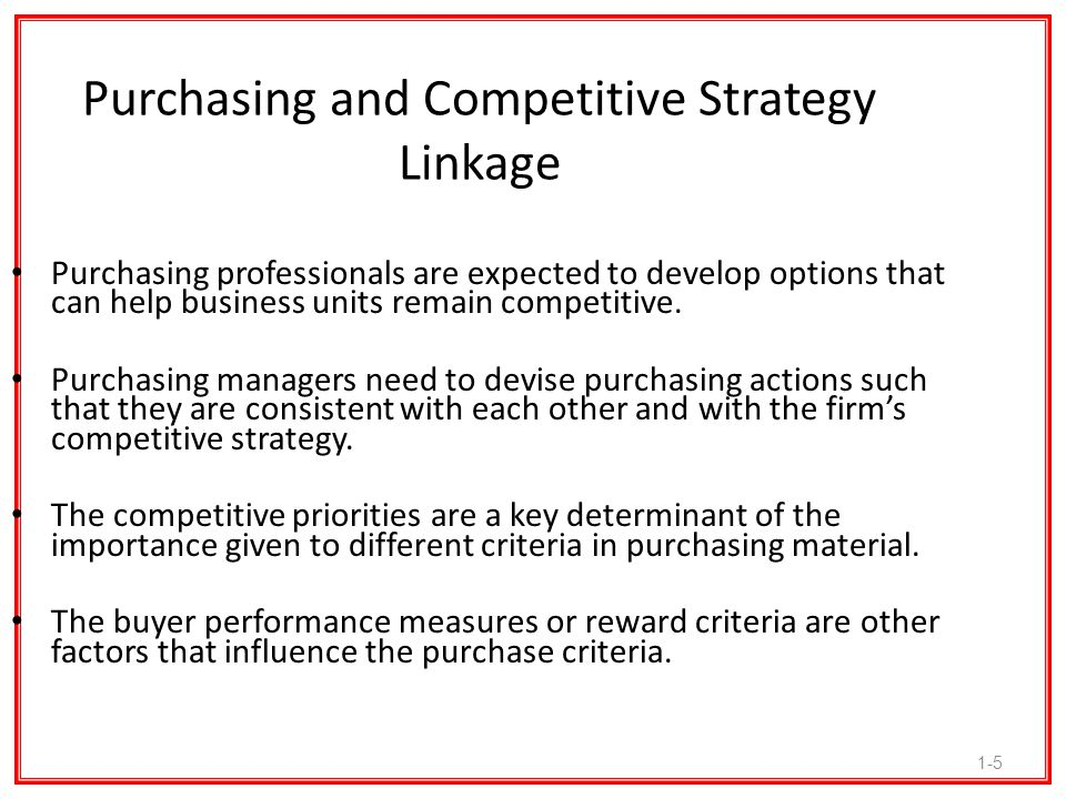 Purchasing and Competitive Strategy Linkage