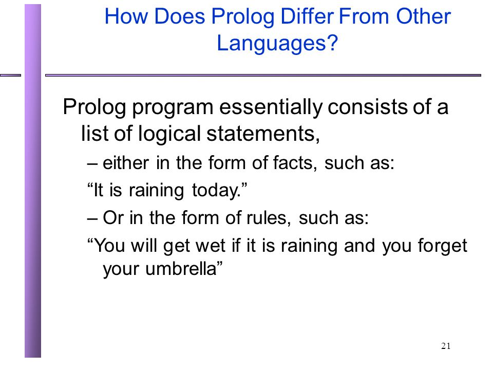 How Does Prolog Differ From Other Languages