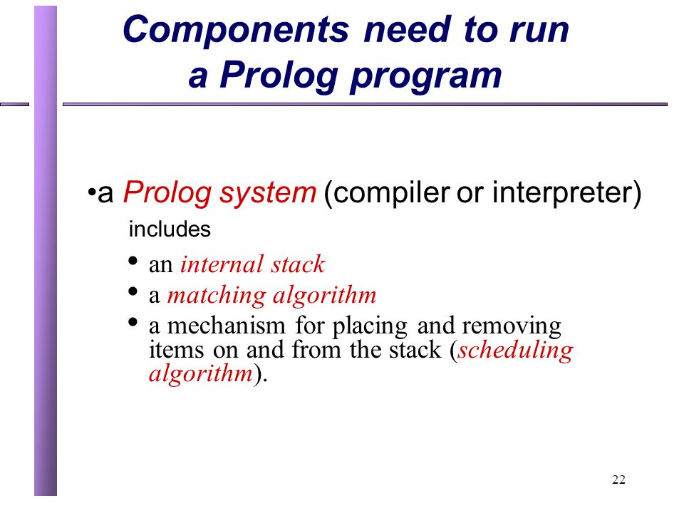 Components need to run a Prolog program