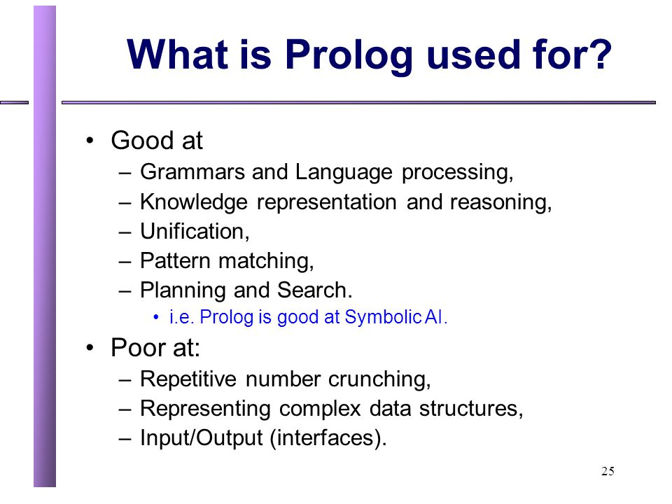 What is Prolog used for Good at Poor at: