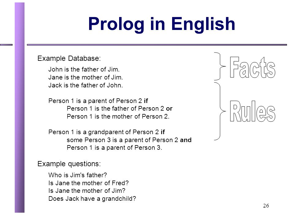 Prolog in English Facts Rules Example Database: Example questions: