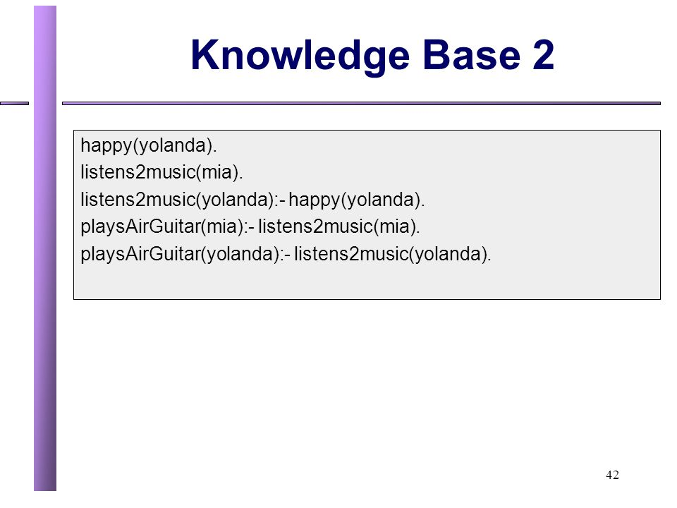 Knowledge Base 2 happy(yolanda). listens2music(mia).