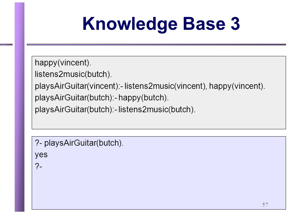Knowledge Base 3 happy(vincent). listens2music(butch).