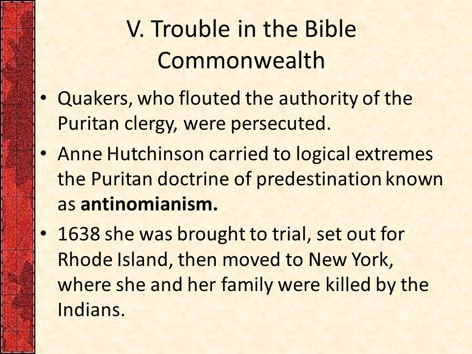 V. Trouble in the Bible Commonwealth