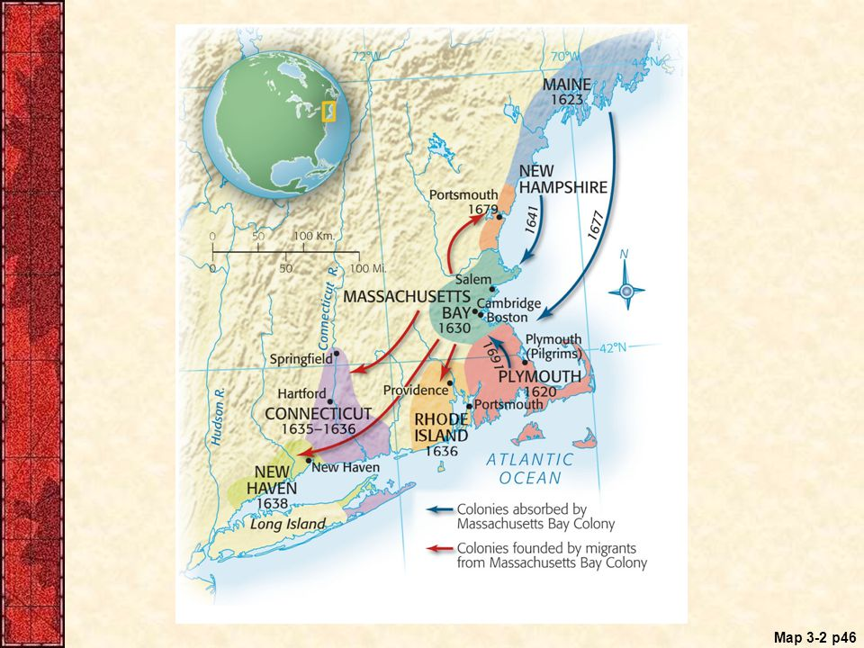 Map 3.2 Seventeenth-Century New England Settlements