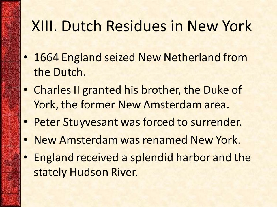 XIII. Dutch Residues in New York