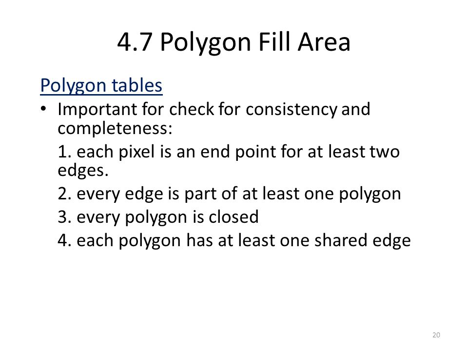 4.7 Polygon Fill Area Polygon tables