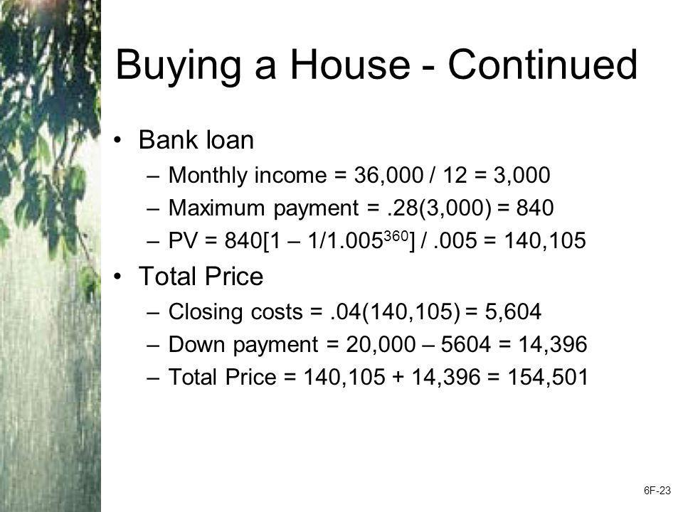 Buying a House - Continued