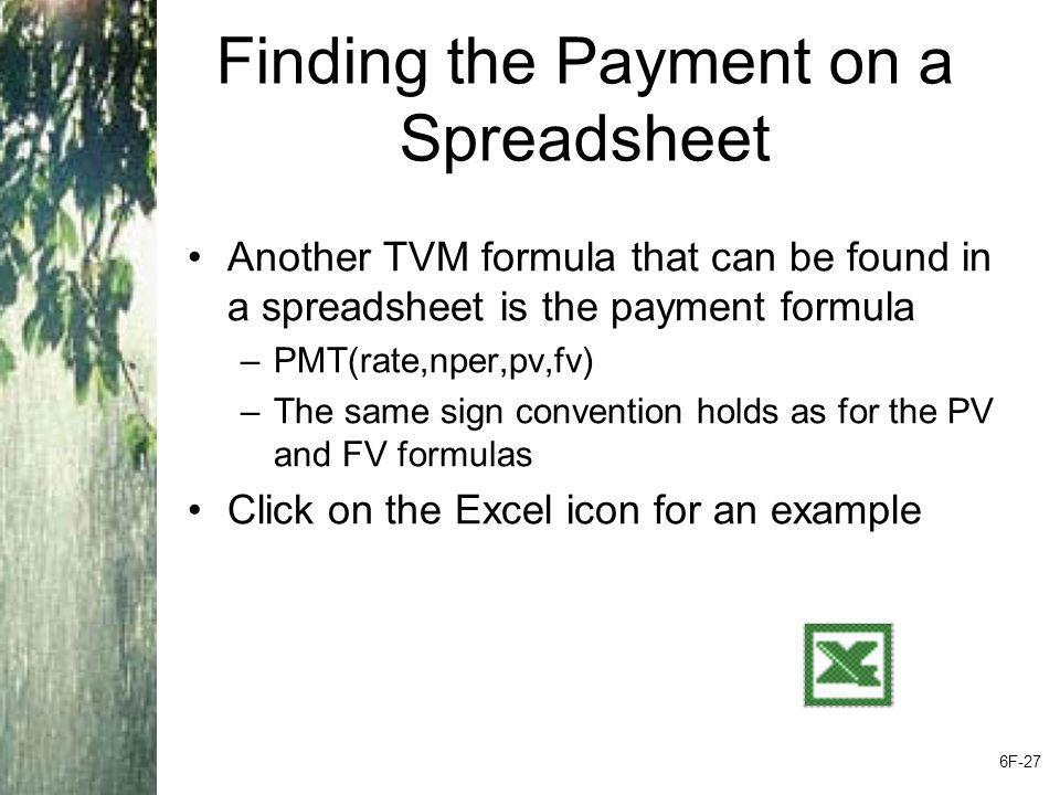 Finding the Payment on a Spreadsheet