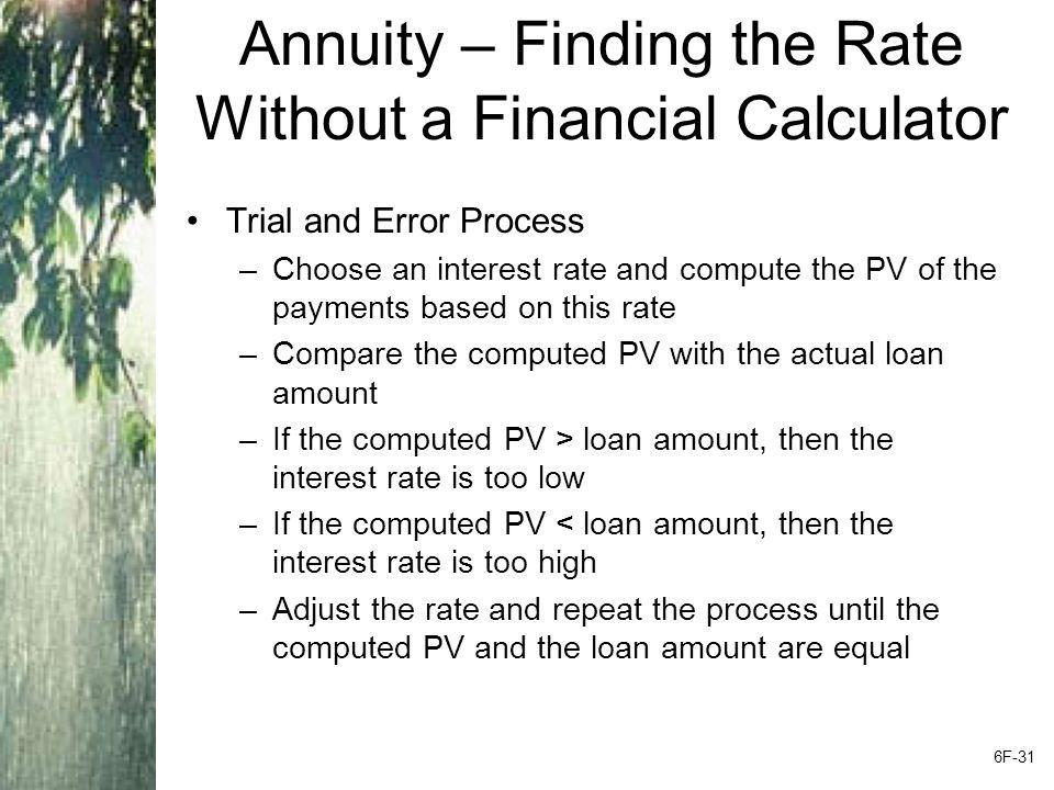 Annuity – Finding the Rate Without a Financial Calculator