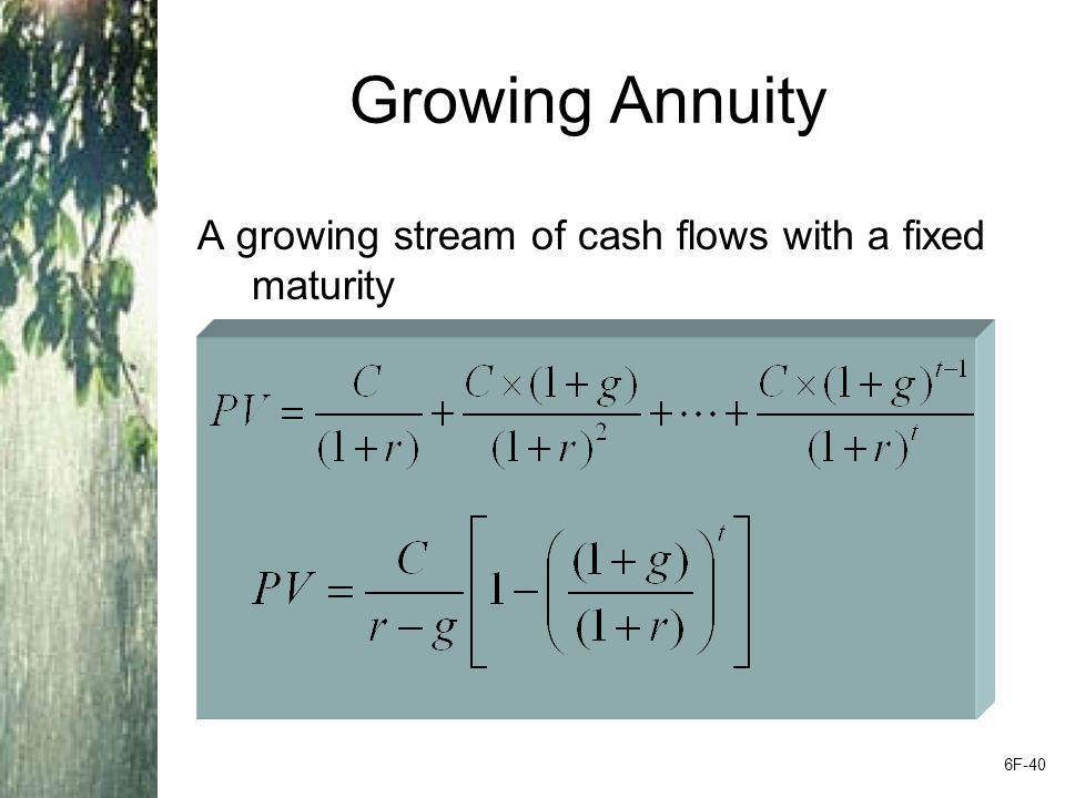 Growing Annuity A growing stream of cash flows with a fixed maturity