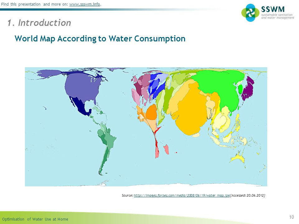World Map According to Water Consumption