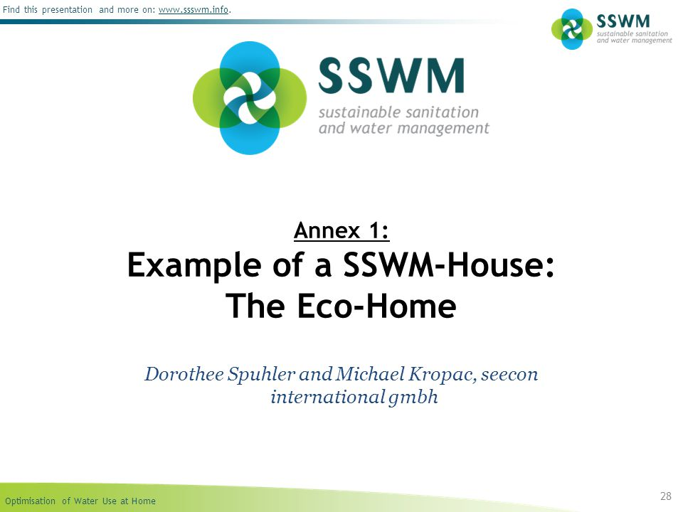Annex 1: Example of a SSWM-House: The Eco-Home