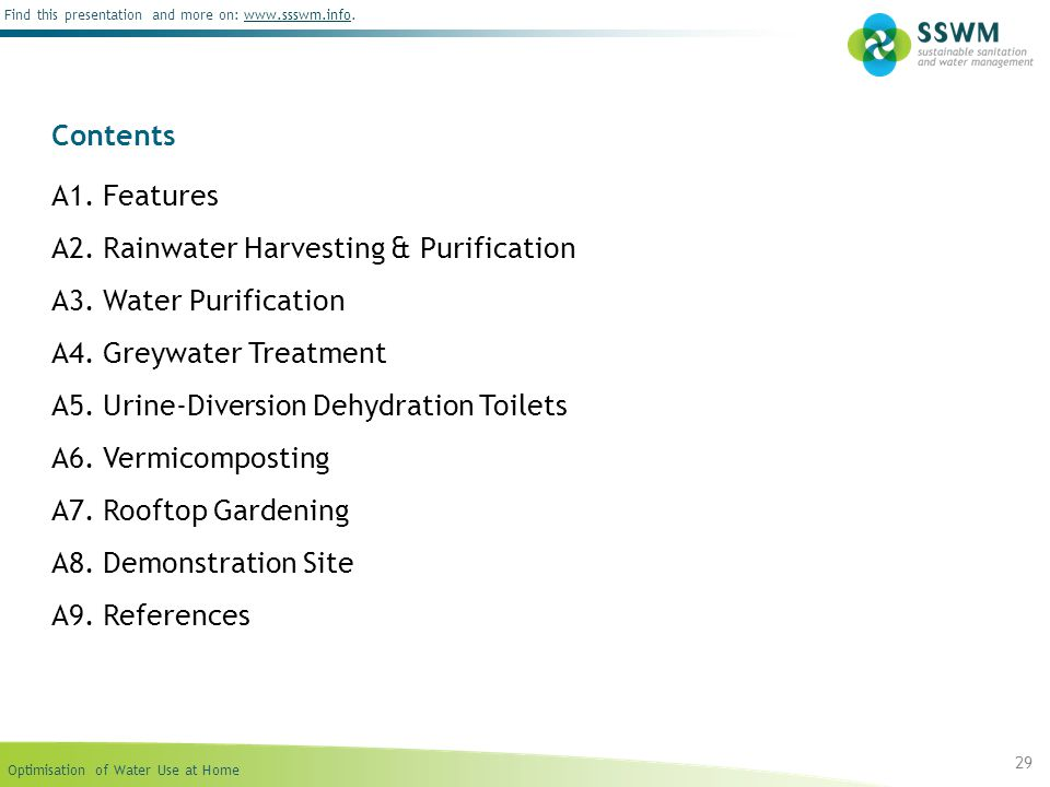 Contents A1. Features. A2. Rainwater Harvesting & Purification. A3. Water Purification. A4. Greywater Treatment.