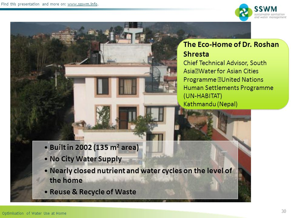 The Eco-Home of Dr. Roshan Shresta Chief Technical Advisor, South Asia Water for Asian Cities Programme United Nations Human Settlements Programme (UN-HABITAT) Kathmandu (Nepal)