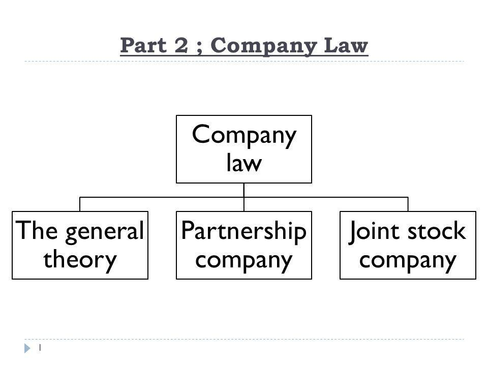 Company law The general theory Partnership company Joint stock company