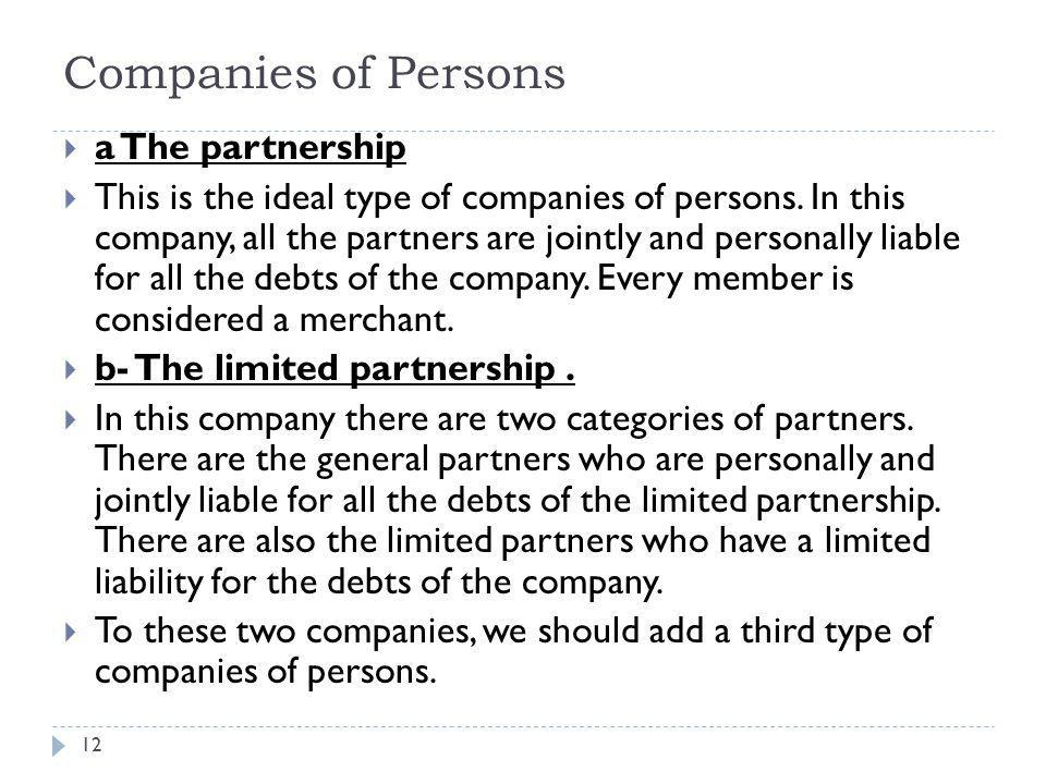 Companies of Persons a The partnership
