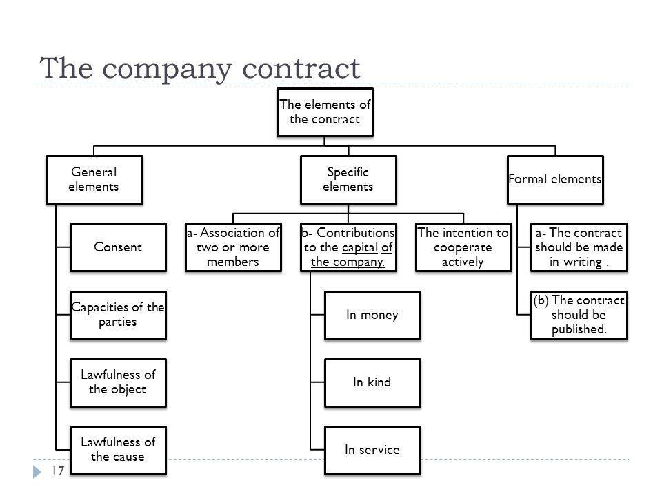 The company contract The elements of the contract General elements