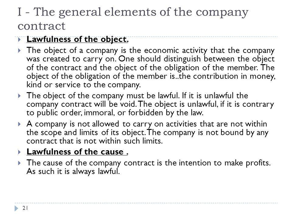 I - The general elements of the company contract