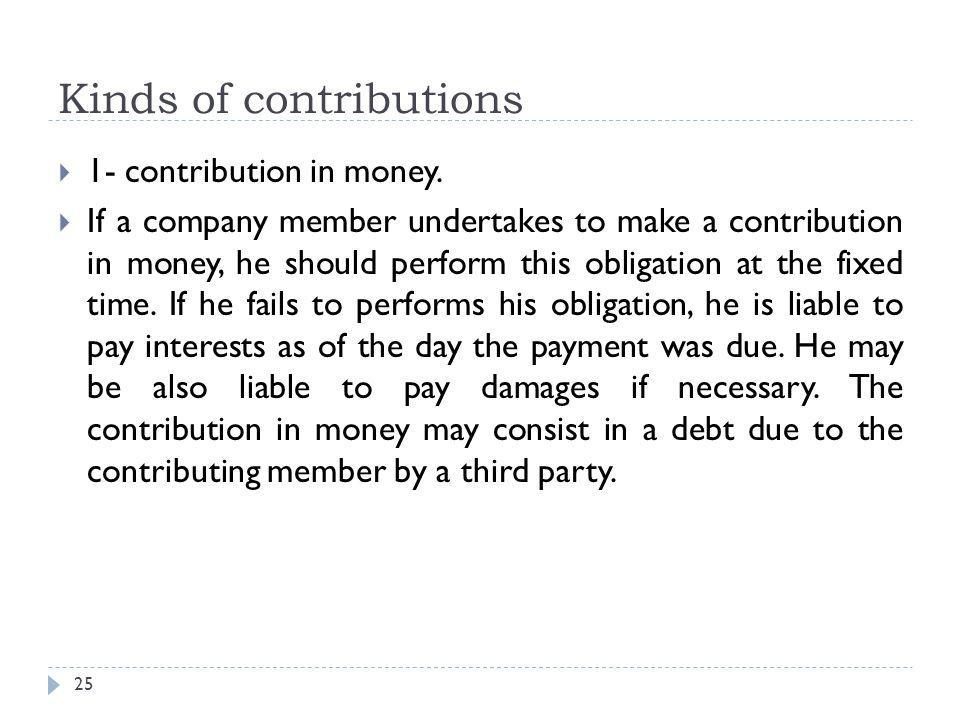 Kinds of contributions