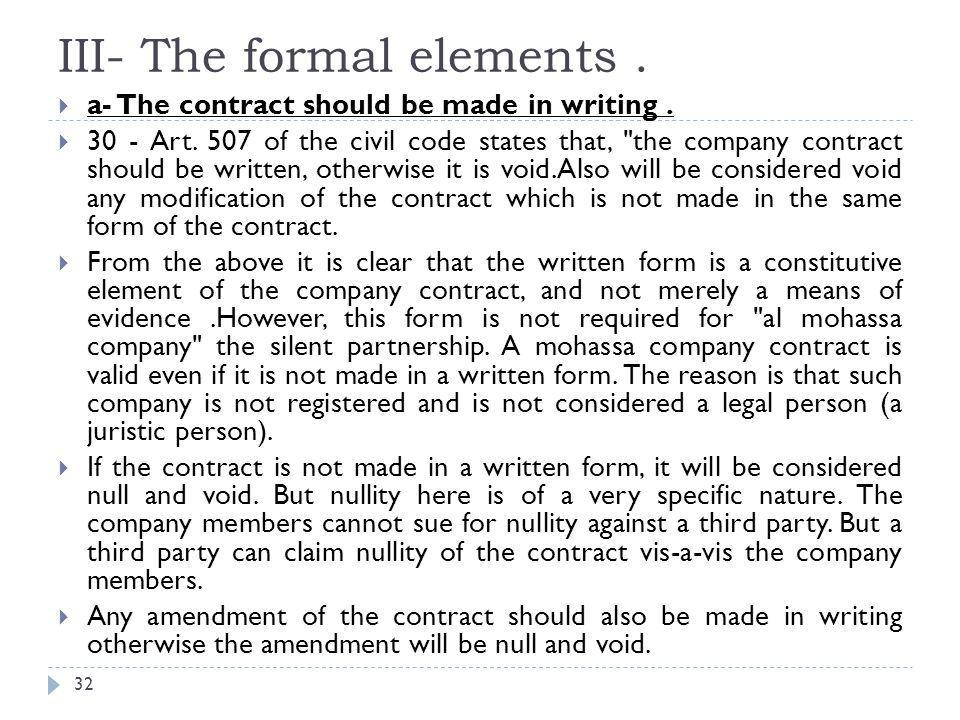III- The formal elements .