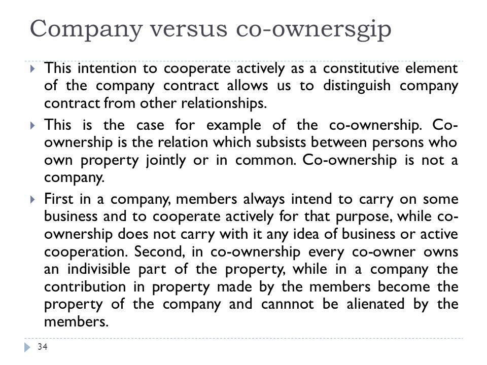Company versus co-ownersgip