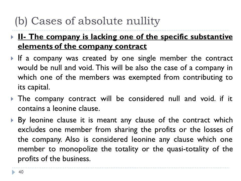 (b) Cases of absolute nullity
