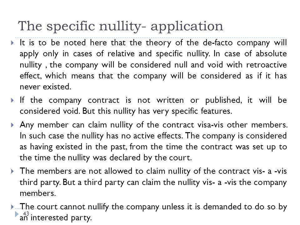 The specific nullity- application