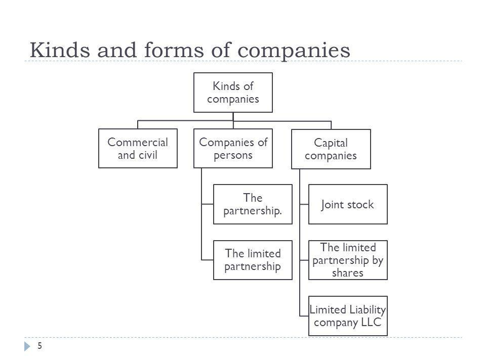 Kinds and forms of companies