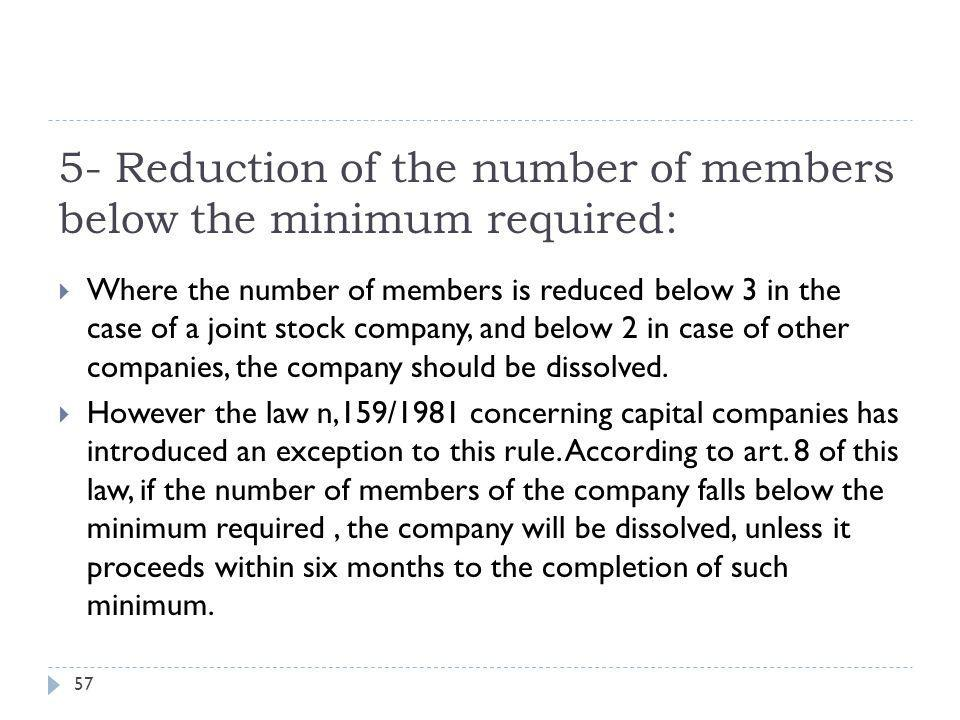 5- Reduction of the number of members below the minimum required: