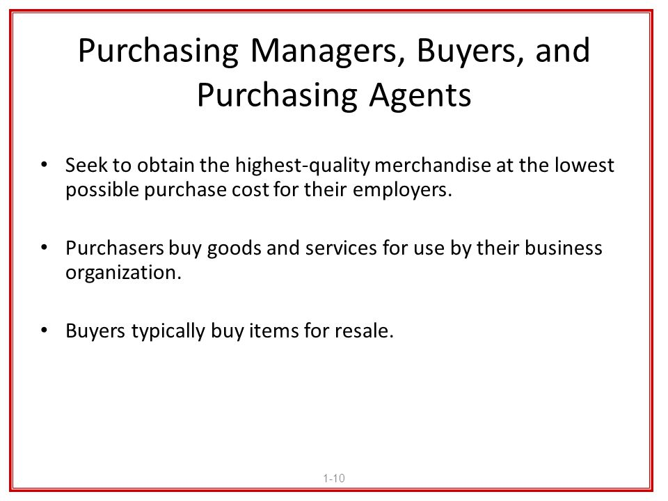 Purchasing Managers, Buyers, and Purchasing Agents
