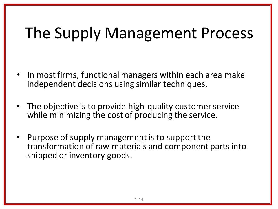 The Supply Management Process