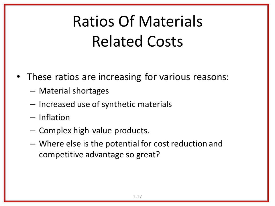 Ratios Of Materials Related Costs