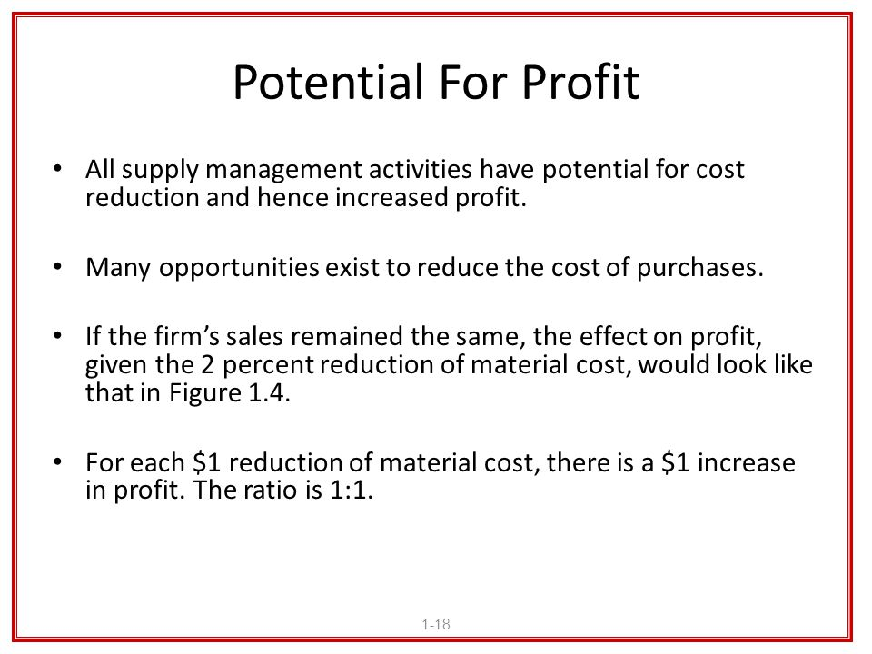 Potential For Profit All supply management activities have potential for cost reduction and hence increased profit.