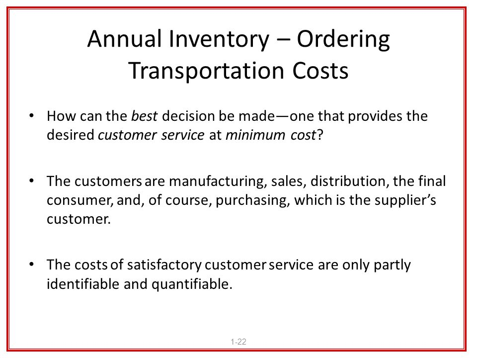 Annual Inventory – Ordering Transportation Costs