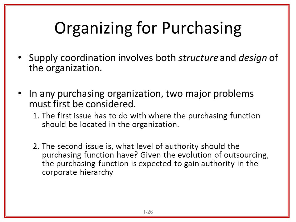 Organizing for Purchasing