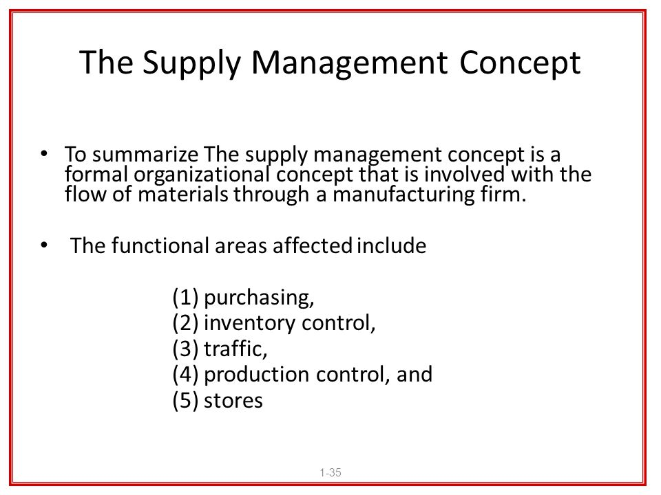 The Supply Management Concept