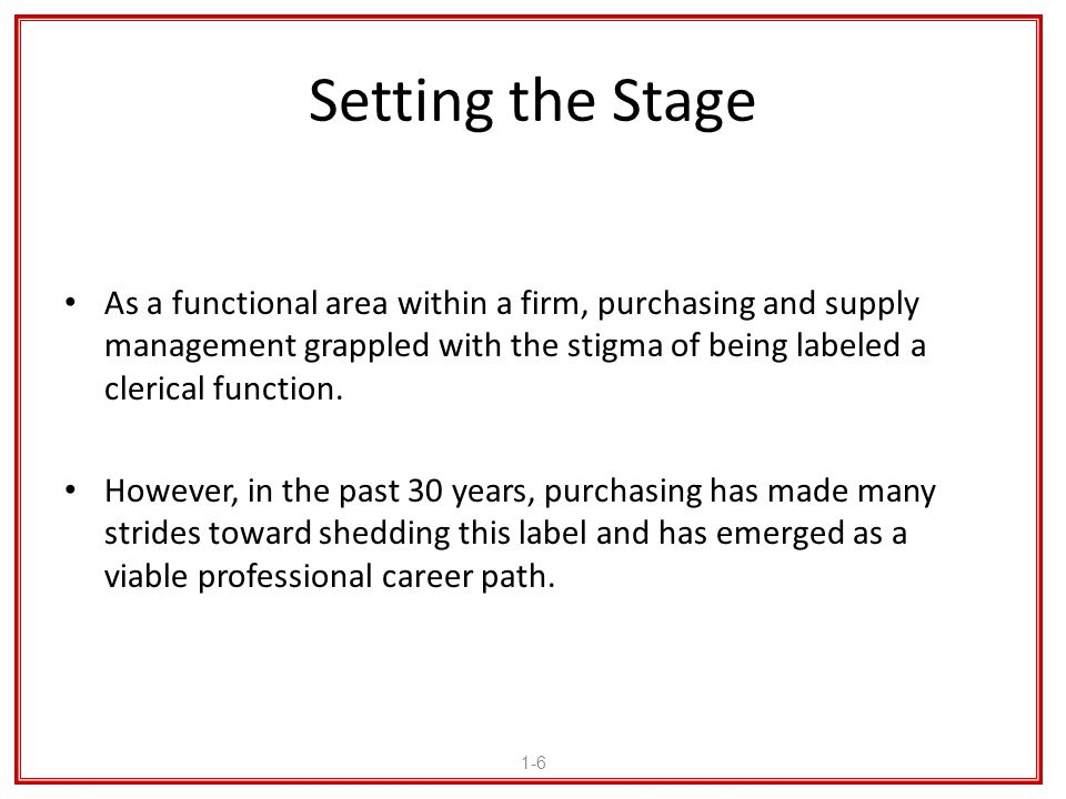 Setting the Stage As a functional area within a firm, purchasing and supply management grappled with the stigma of being labeled a clerical function.