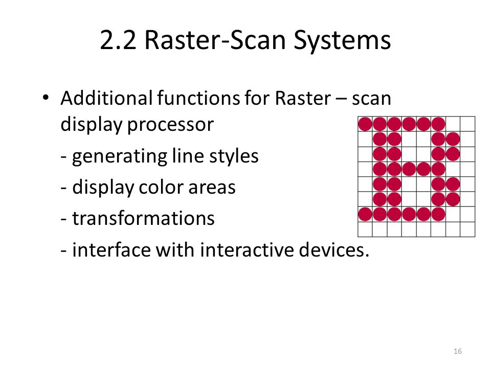 2.2 Raster-Scan Systems Additional functions for Raster – scan display processor. - generating line styles.