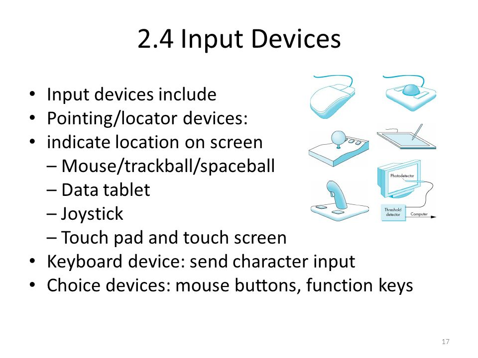 2.4 Input Devices Input devices include Pointing/locator devices:
