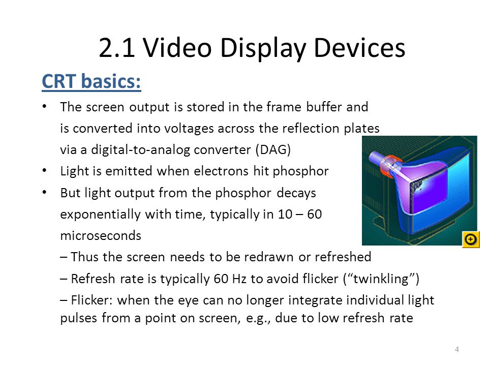 2.1 Video Display Devices CRT basics: