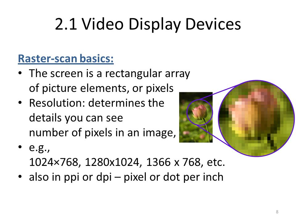 2.1 Video Display Devices Raster-scan basics:
