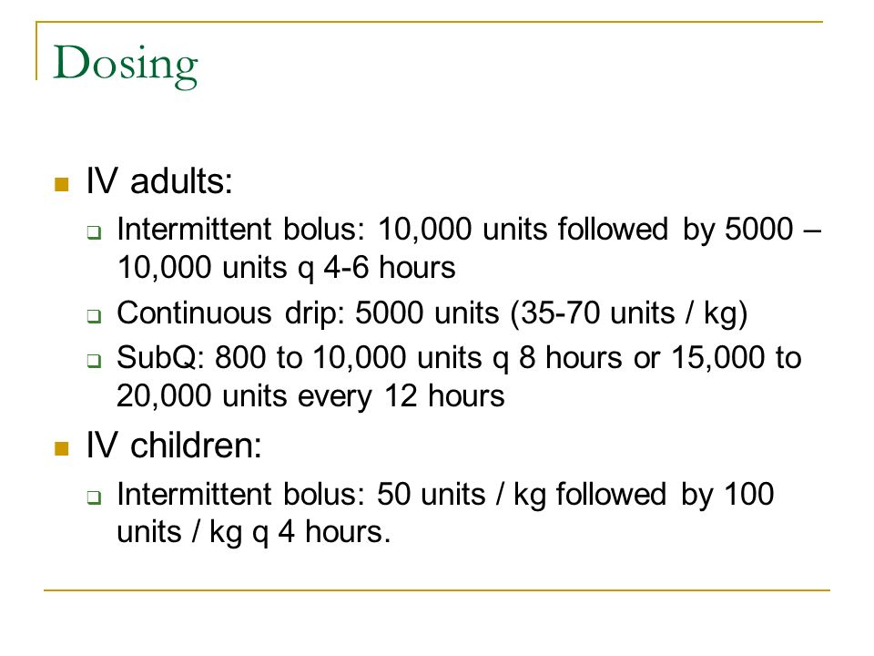 Dosing IV adults: IV children: