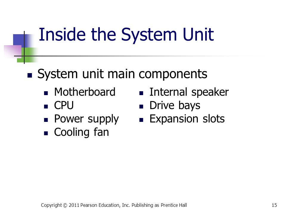 Inside the System Unit System unit main components Motherboard CPU